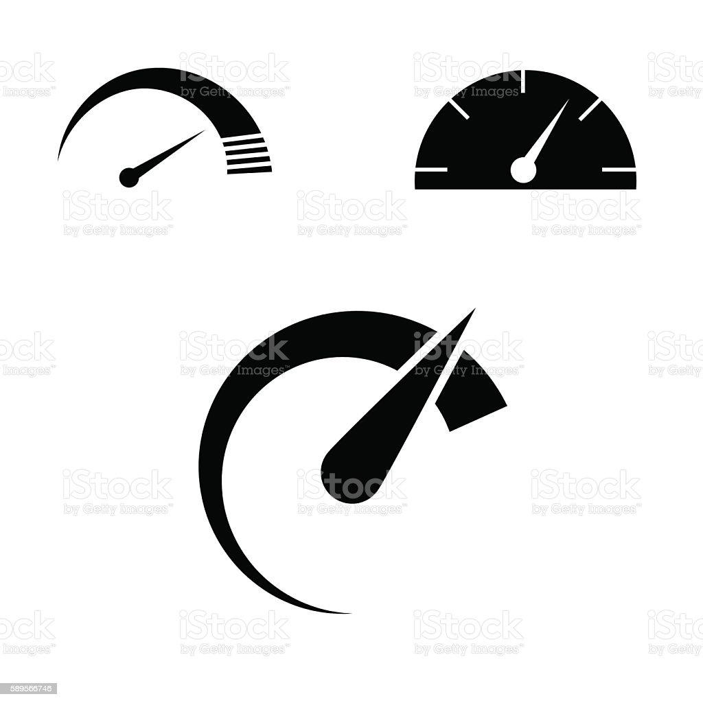 Speed icon set. vector art illustration