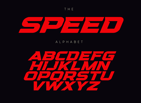 Speed letters set. Red race font. Italic bold racing style vector latin alphabet. Fonts for event, promo, logo, banner, monogram and poster. Typeset design.