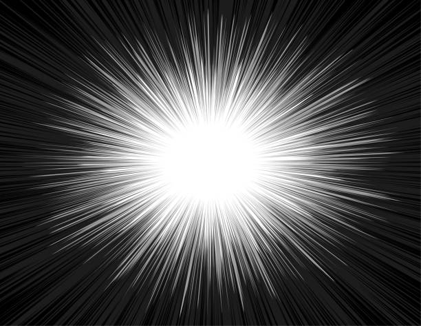 illustrazioni stock, clip art, cartoni animati e icone di tendenza di speed light comic book style explosion beam radial zoom background - big bang