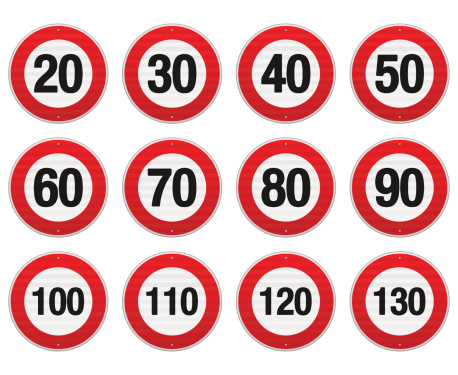Isolated illustration of circle speed limit signs with red border. EPS version 10 with transparency included in download.