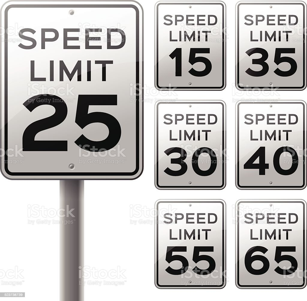 Speed Limit Signs vector art illustration