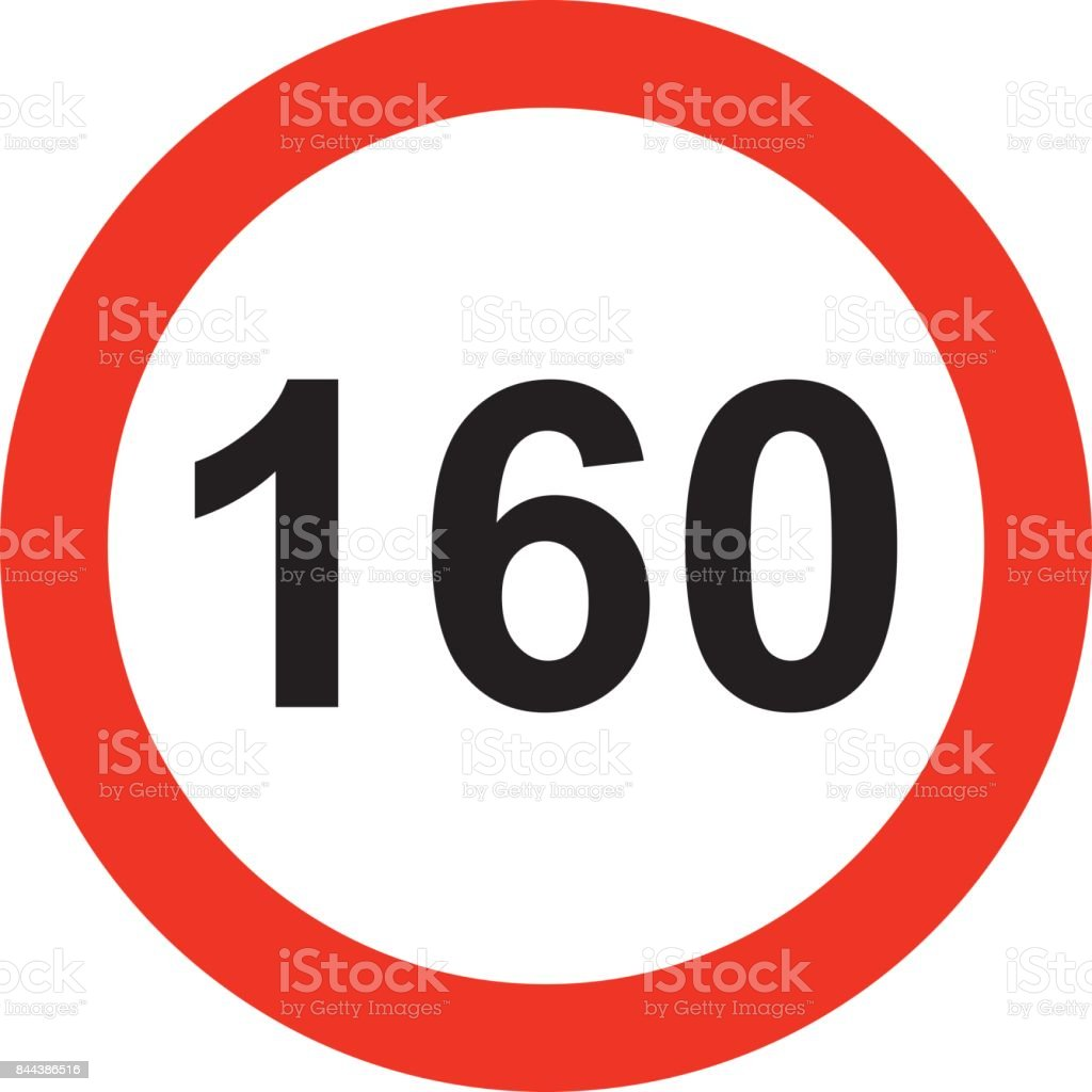 160 speed limitation road sign vector art illustration
