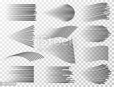 Speed line collection. Black fast sharp streeps for cartoon and manga vector set isolated. Linear power explode and wind effect illustration
