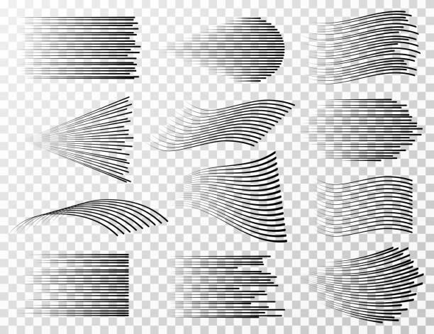 hız satır koleksiyonu. siyah çizgi film ve manga vektör izole ayarlamak için hızlı keskin streeps - rüzgar stock illustrations