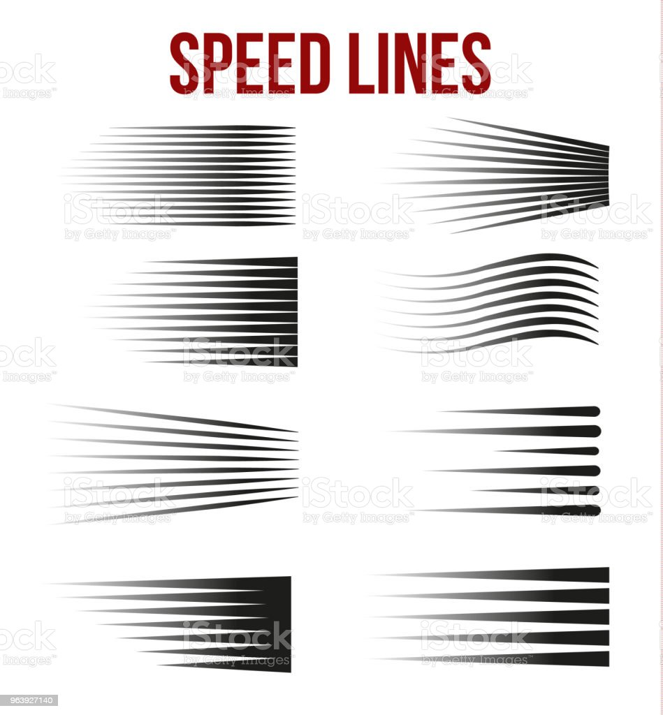 Speed lines black for Manga and Comic vector elements on white background. - Royalty-free Abstract stock vector
