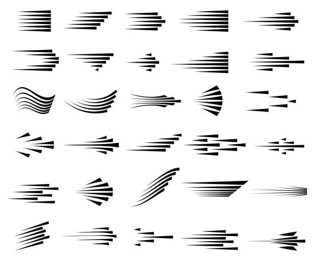 ilustraciones, imágenes clip art, dibujos animados e iconos de stock de iconos de líneas de velocidad. conjunto de símbolos de movimiento rápido. - velocidad