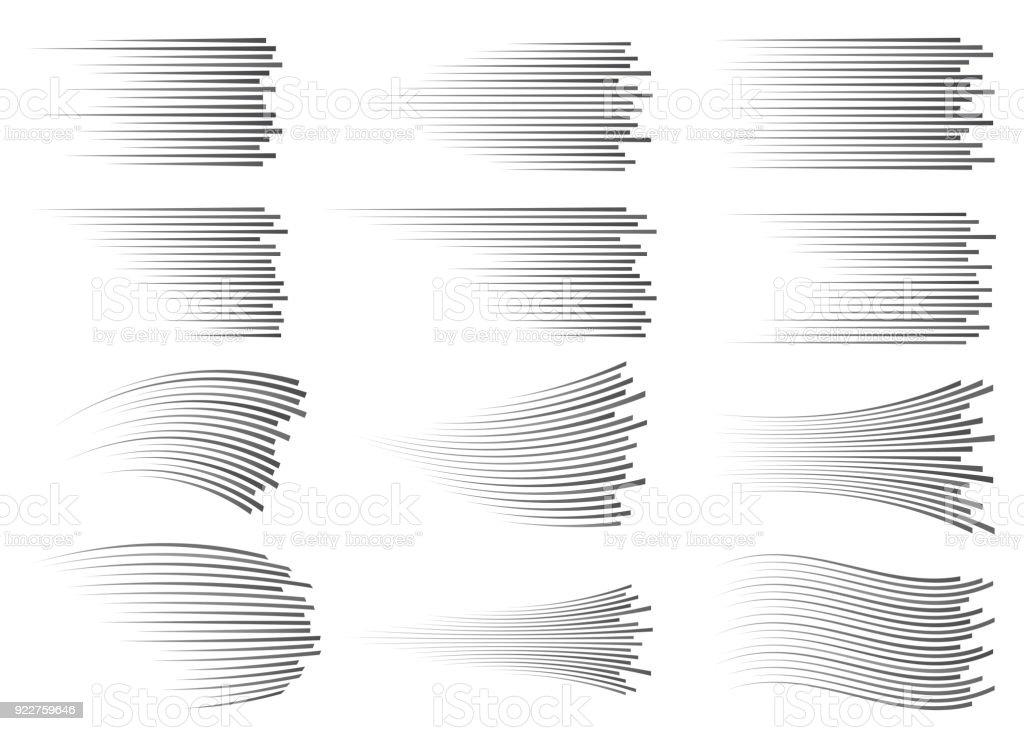 Lignes de vitesse isolés. Effet de mouvement. Lignes noires sur fond blanc lignes de vitesse isolés effet de mouvement lignes noires sur fond blanc vecteurs libres de droits et plus d'images vectorielles de a la mode libre de droits