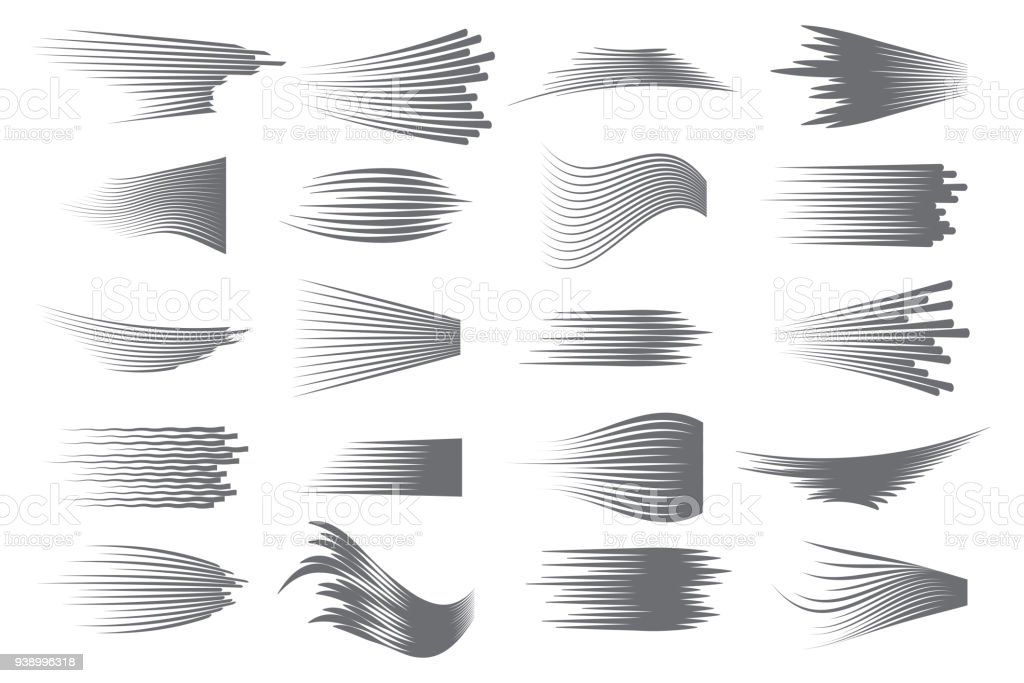 Speed lines isolated set. Comics motion lines for fast moving object or moving quickly person. Black lines on white background vector art illustration