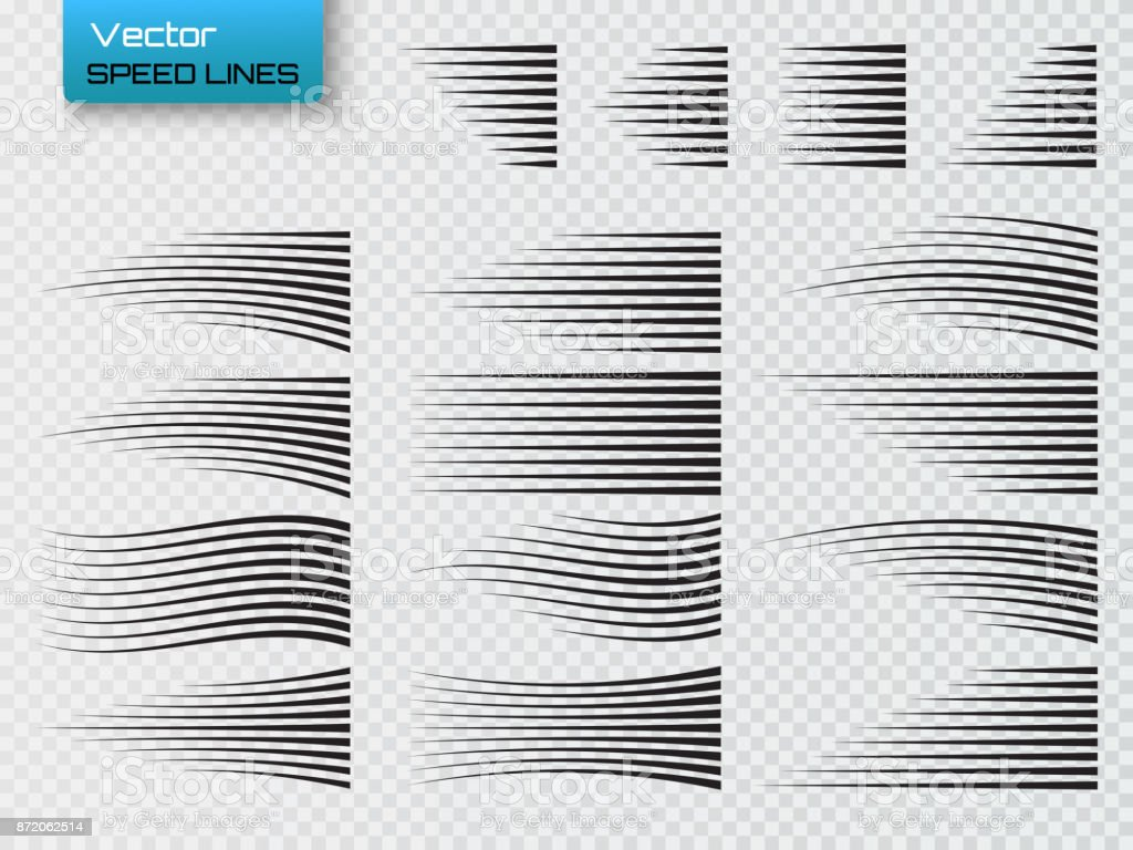 Speed lines isolated. Set of motion signs. Vector