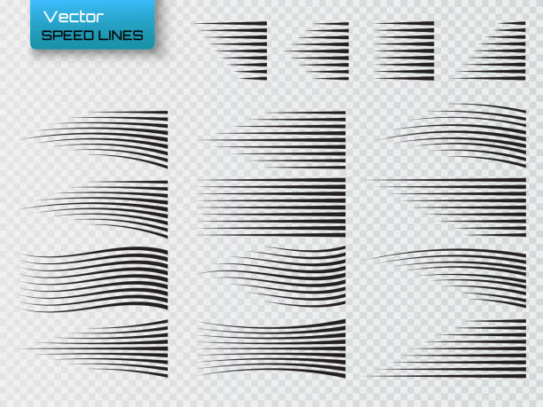 speed lines isolated. set of motion signs. vector - pasiasty stock illustrations