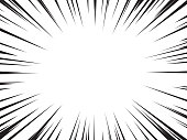 Background of radial speed lines for comic books. Monochrome explosion background.Vector illustration.