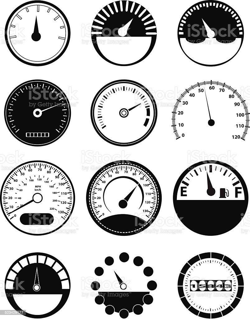 Speed meter icons set vector art illustration