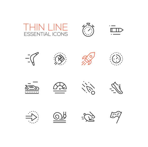 stockillustraties, clipart, cartoons en iconen met snelheid - moderne vector enkele dunne lijn pictogrammen instellen - gemak
