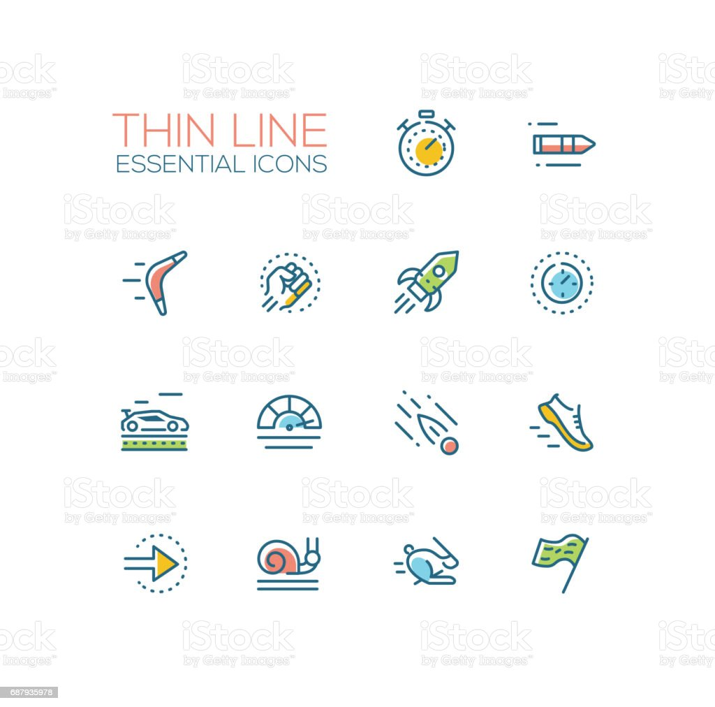 Speed - modern vector single thin line icons set vector art illustration