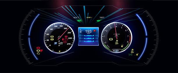 stockillustraties, clipart, cartoons en iconen met speed motion achtergrond met snelle snelheidsmeter auto. futuristische hud, gui interface scherm ontwerp. sci-fi virtual reality technology weergave. vector - dashboard