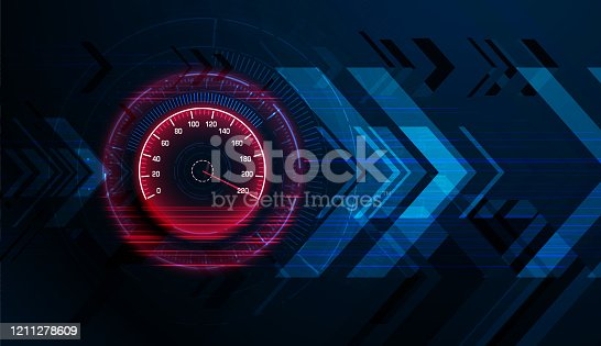 istock Speed motion background with speedometer car 1211278609