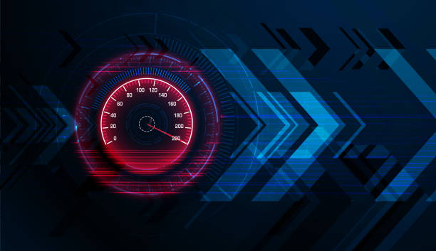 Speed motion background with speedometer car vector art illustration