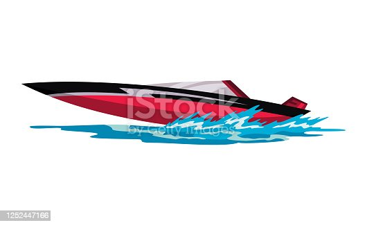 istock Speed motorboat. Sea or river vehicle. Sport nautical summer transportation. Motorized water vessel on sea water waves. Isolated on white background 1252447166