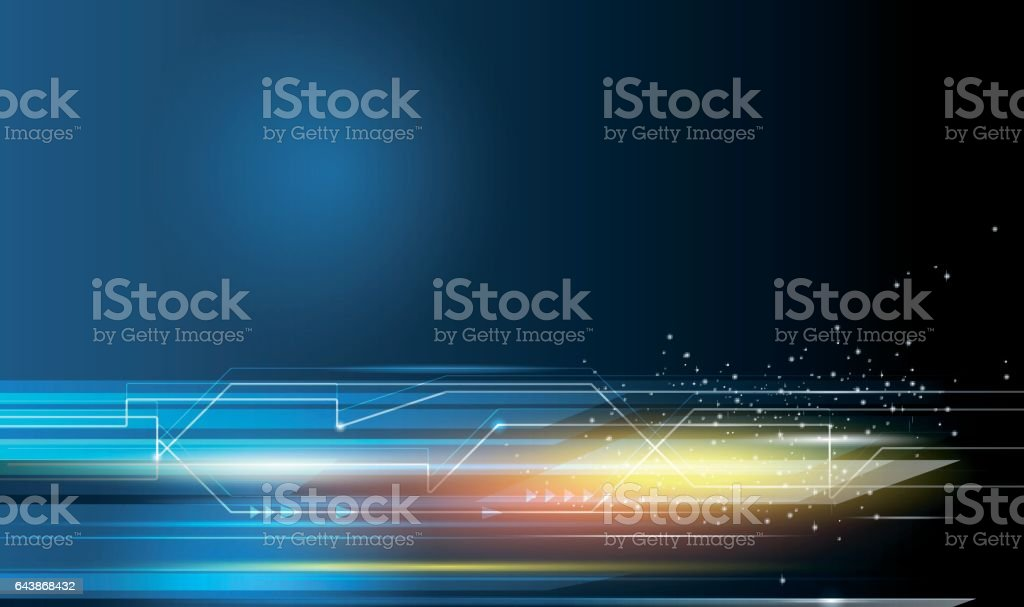 Speed movement pattern and motion blur over dark blue background vector art illustration