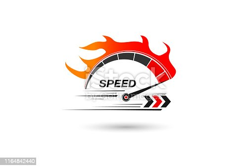 Speed of flaming speedometer for racing event. vector eps10
