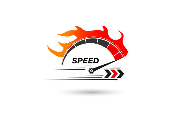 speed of flaming speedometer for racing event. vector eps10 - race stock illustrations