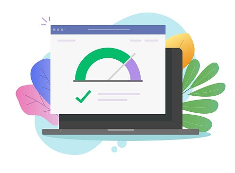 Speed of website internet page loading or computer laptop seo optimization web site performance test check icon vector flat, concept pc load time speedometer software tool for downloading score image
