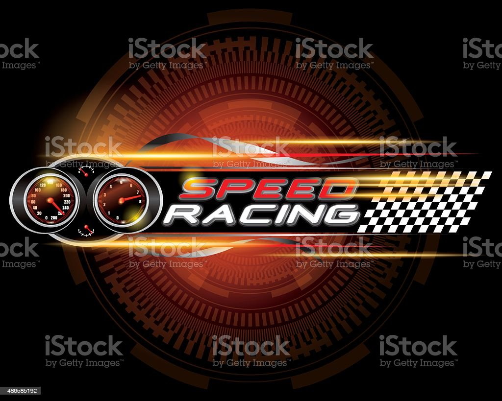 Speed racing with speedometer concept vector vector art illustration