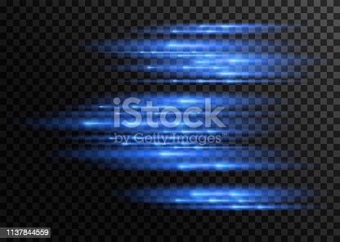 Speed. Shimmering light effect on a transparent background. Vector illustration