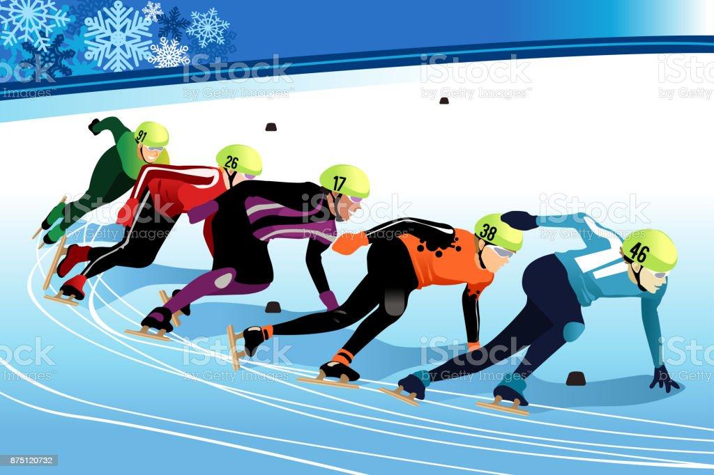 Speed Skating Athletes Competing Illustration vector art illustration