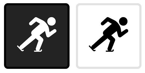 Speed Skating Icon on  Black Button with White Rollover
