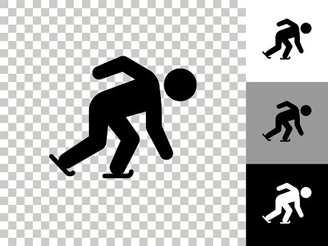 Speed Skating Icon on Checkerboard Transparent Background