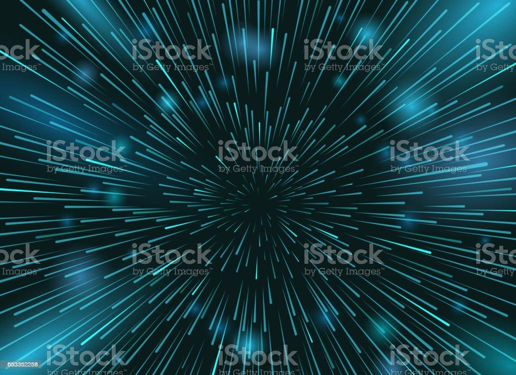 Speed stars in space vector background. Star lights at night sky action wallpaper vector art illustration