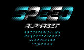 speed racing sport style alphabet design