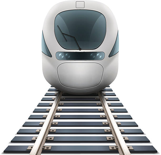 Speed Train Vector speed train and railroad. high speed train stock illustrations