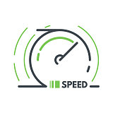 Speed logo. Line style vector illustration. Speedometer symbol. Fast speed concept. Car speedometer.