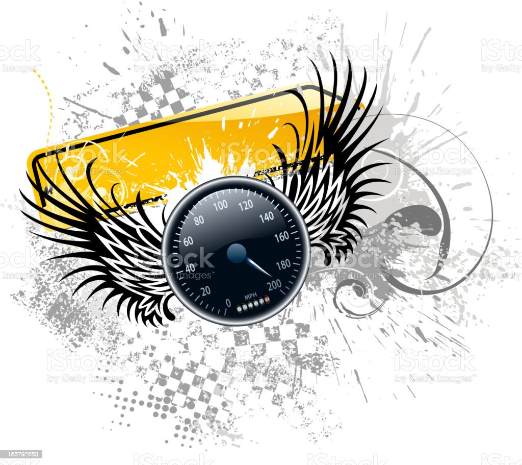 speed wing speedometer vector art illustration