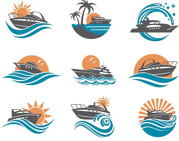 illustrations, cliparts, dessins animés et icônes de speedboat and yacht icons - voilier à moteur