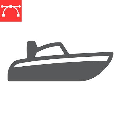 Speedboat glyph icon