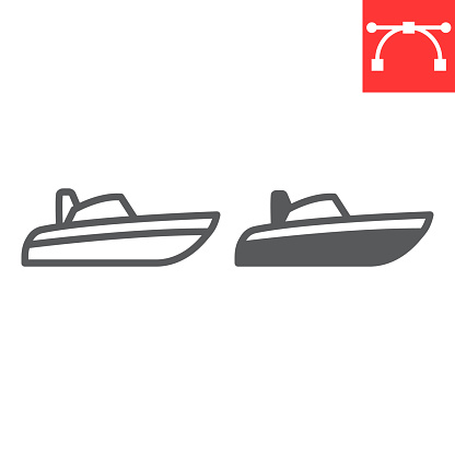 Speedboat line and glyph icon