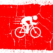 Speeding Bicycle.The main icon is placed on a red grunge background. It takes up the center portion of the composition and is the main focus of this vector illustration. The icon is simple and elegant the background is detailed with cracks and specs of noise. The illustration is a 100% royalty free vector.