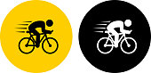 Speeding Bicycle.. The icon is black and is placed on a round yellow vector sticker. The background is white. There is an alternate black and white round button on the left side of the image. The composition is simple and elegant. The vector icon is the most prominent part if this illustration. The yellow and black contrast is a good representation for alert, warning and notice signs. The black and white version is also included in the download.