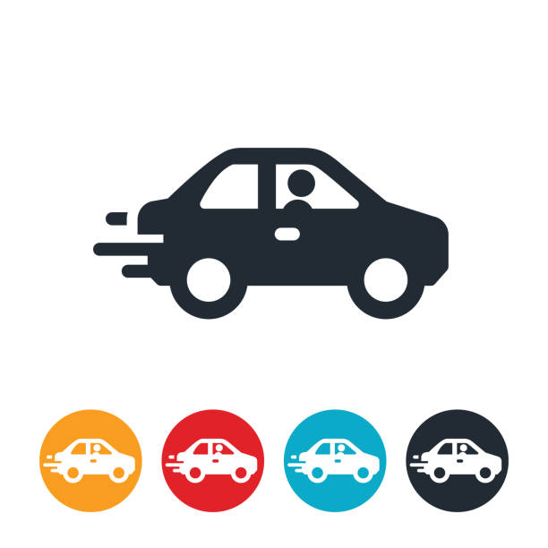 Speeding Car Icon vector art illustration