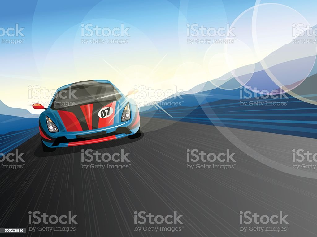 Speeding Race Car on Race Track vector art illustration