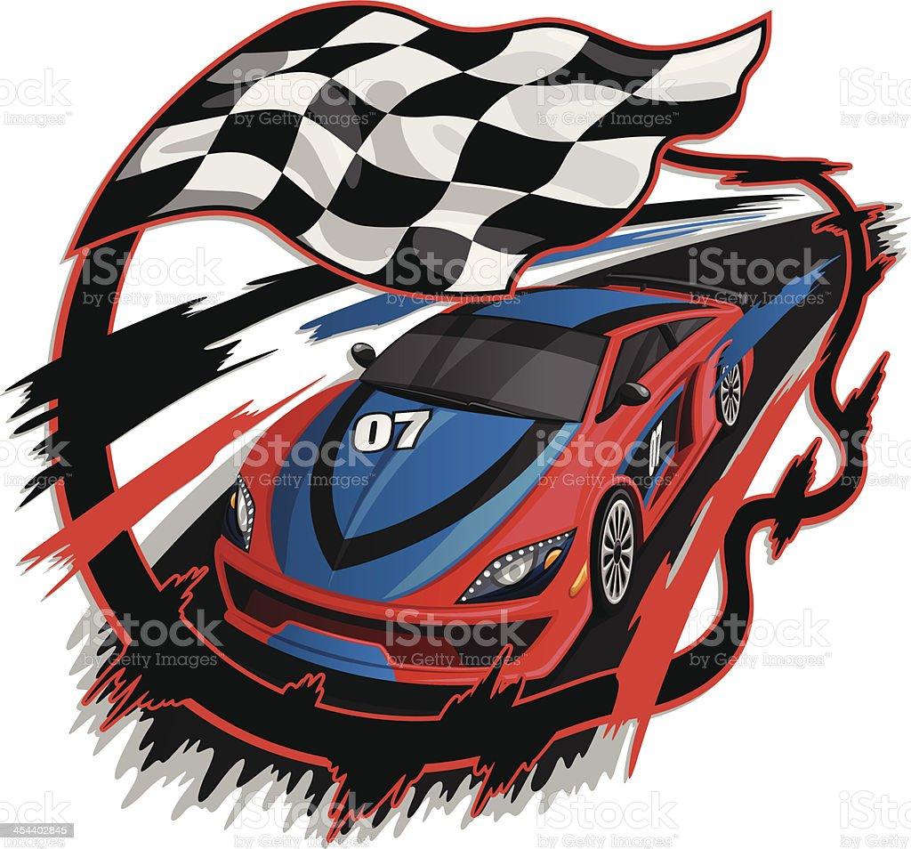 Speeding Racing Car Design vector art illustration