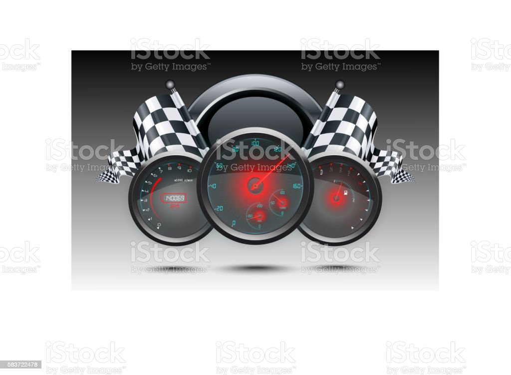 Speedometer and checkered flags vector art illustration
