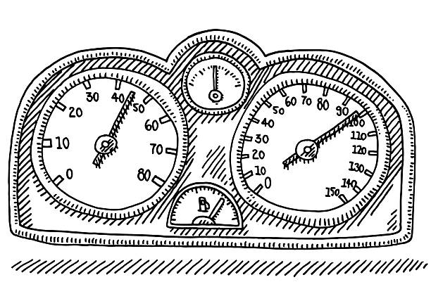 Speedometer Car Part Gauge Drawing Hand-drawn vector drawing of a Speedometer Car Part with Gauges for Speed, RPM, Temperature and Fuel. Black-and-White sketch on a transparent background (.eps-file). Included files are EPS (v10) and Hi-Res JPG. motor sport stock illustrations