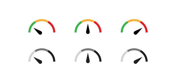 Speedometer color icon set. Gauge simple symbol. Level speed concept in vector flat style.