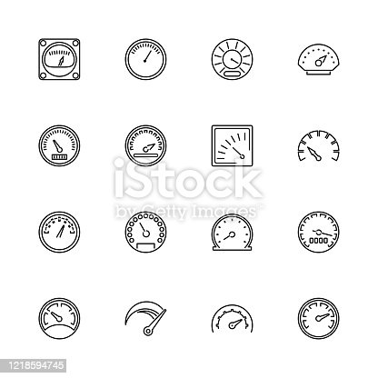 Speedometer, Odometer, Tachometer outline icons set Black symbol on white background. Speedometer, Odometer Simple Illustration Symbol lined simplicity Sign. Flat Vector thin line Icon editable stroke