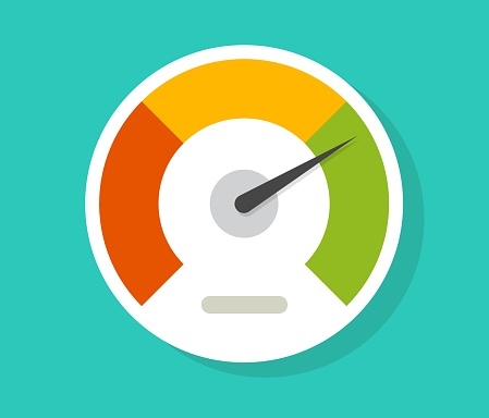 Speedometer gauge dial vector icon isolated or pressure progress power bar vector flat symbol, concept of scoring measure level indicator or performance scale meter modern design image