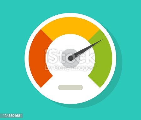 istock Speedometer gauge dial vector icon isolated or pressure progress power bar vector flat symbol, concept of scoring measure level indicator or performance scale meter modern design 1243304681